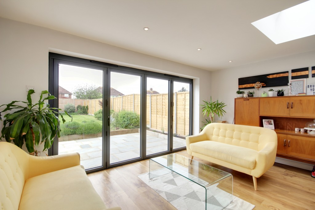 contemporary grey bi-fold doors